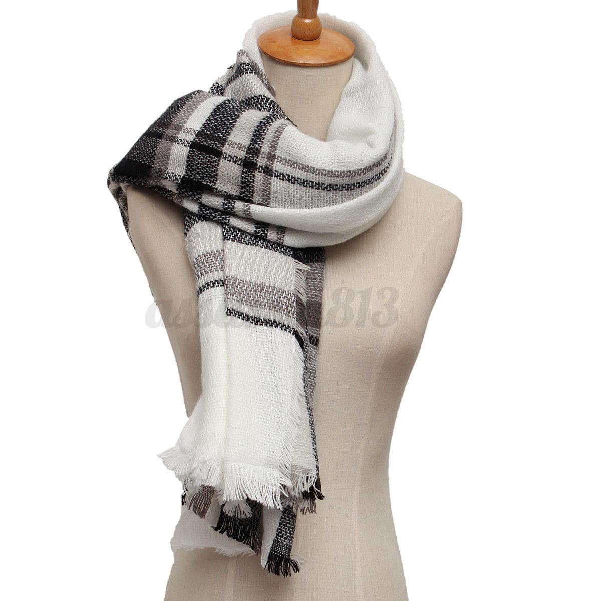 Knitting Pattern Tartan Scarf : Woman Lady Scarf Shawl Long Scarves Tiles Scottish Tartan Wool Cashmere Knitt...