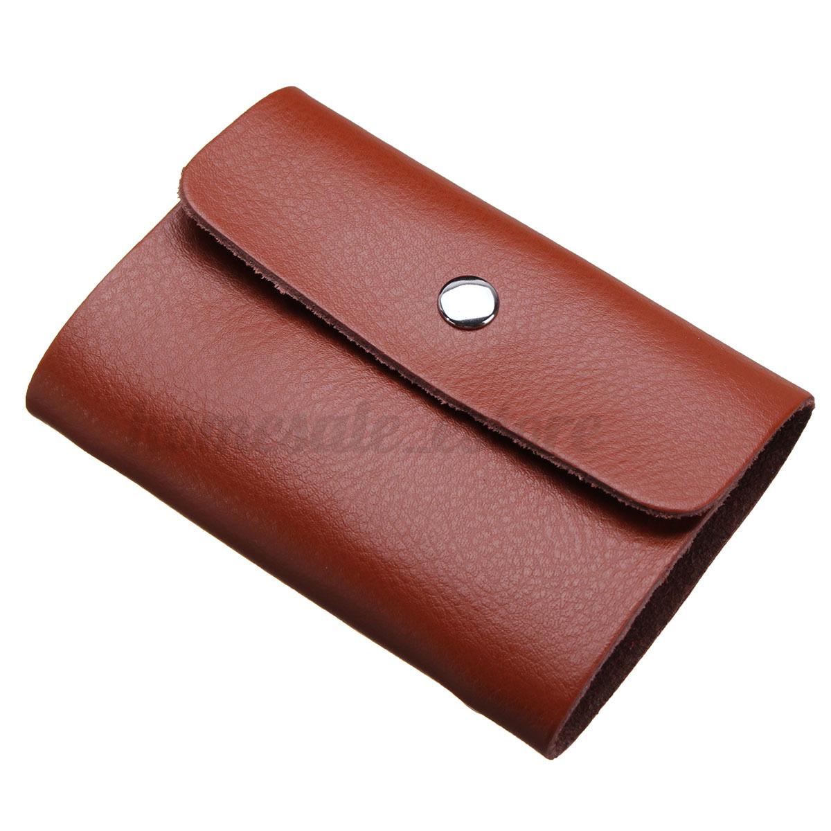 Leather Men Women Business Wallet ID Credit Card Holder