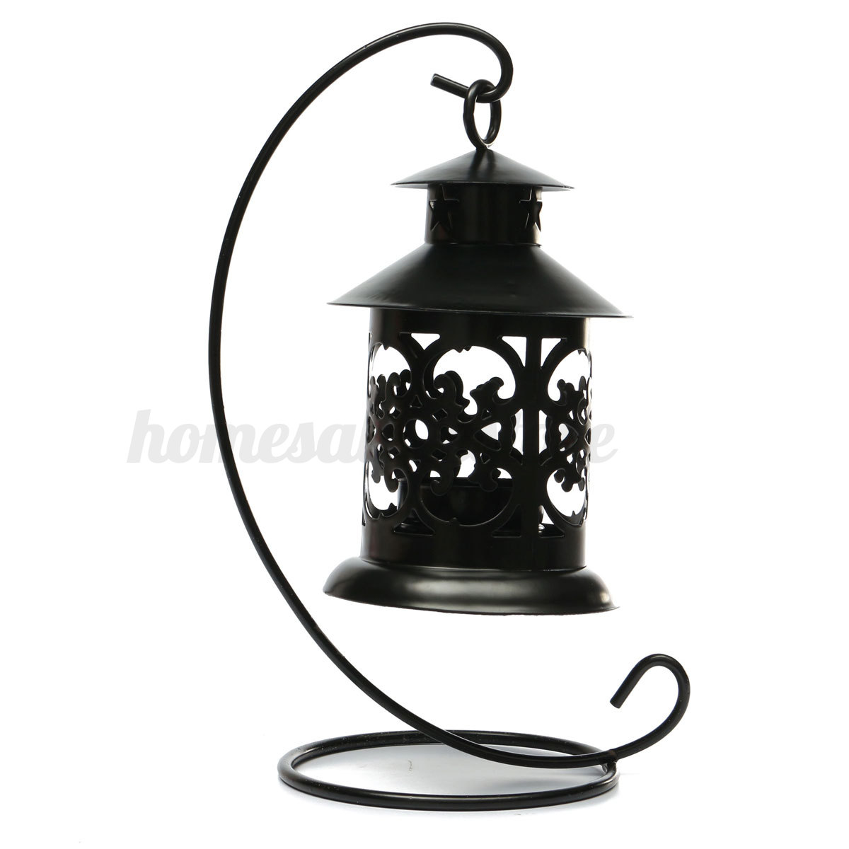 Black / White Iron Moroccan Candlestick Candleholder Candle Stand Light Lantern