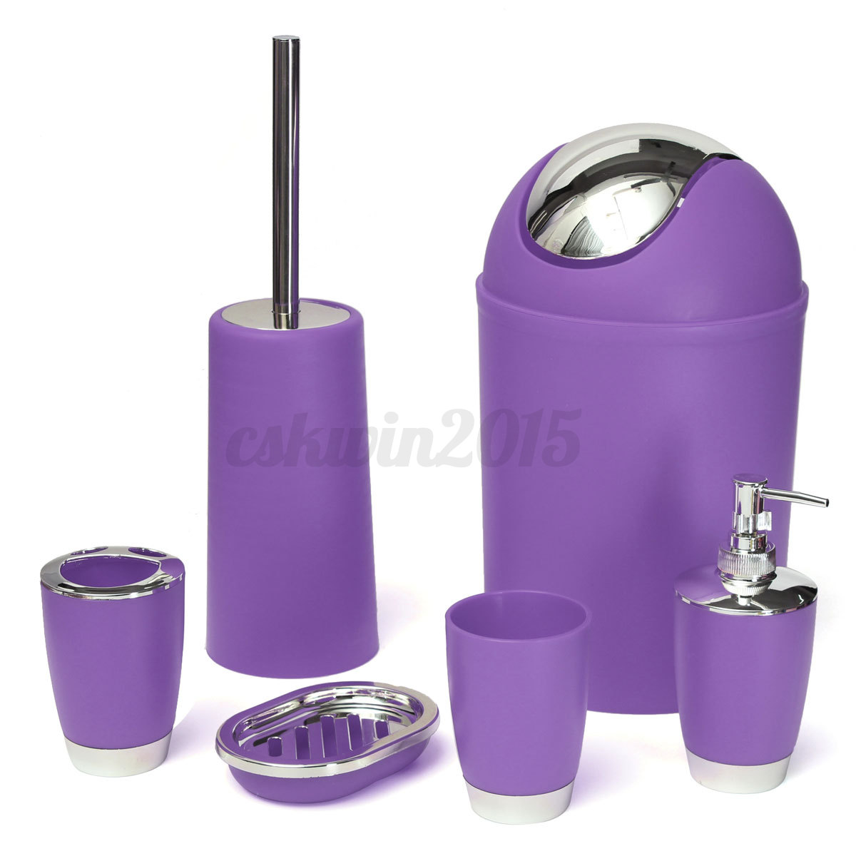 6pcs set bathroom accessory bin soap dish dispenser tumbler toothbrush holder ebay - Bathroom soap dish sets ...