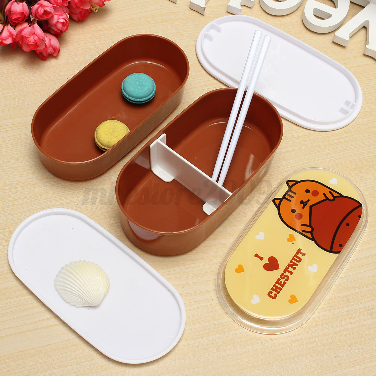 student cartoon lunch box food container storage portable bento box chopsticks ebay. Black Bedroom Furniture Sets. Home Design Ideas