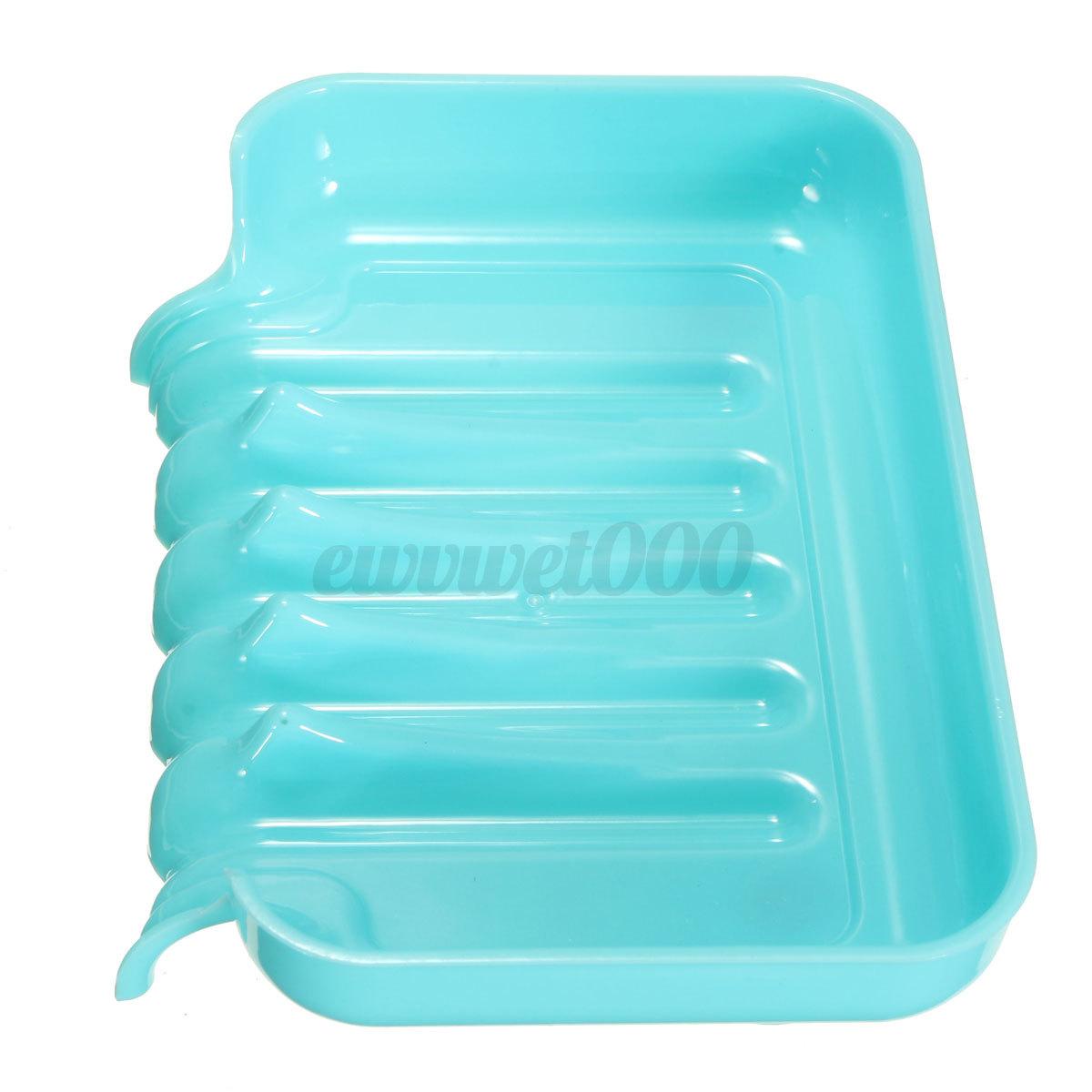 Plastic Bathroom Kitchen Waterfall Drain Soap Dish Sponge Holder Suction Cup Box Ebay