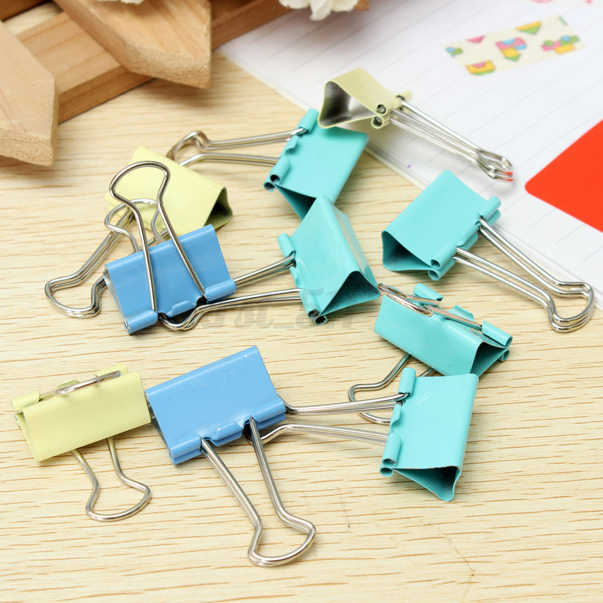 10pcs couleurs foldback clips replier attache pince pour facture papier bureau ebay. Black Bedroom Furniture Sets. Home Design Ideas