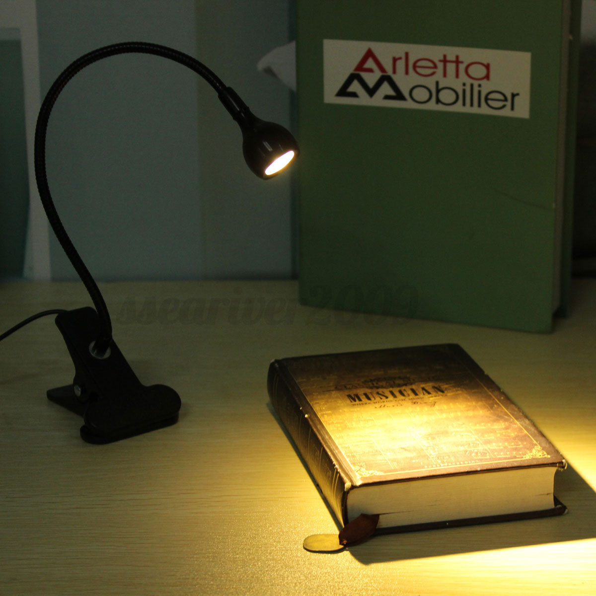usb flexible reading led clip on beside bed table desk. Black Bedroom Furniture Sets. Home Design Ideas