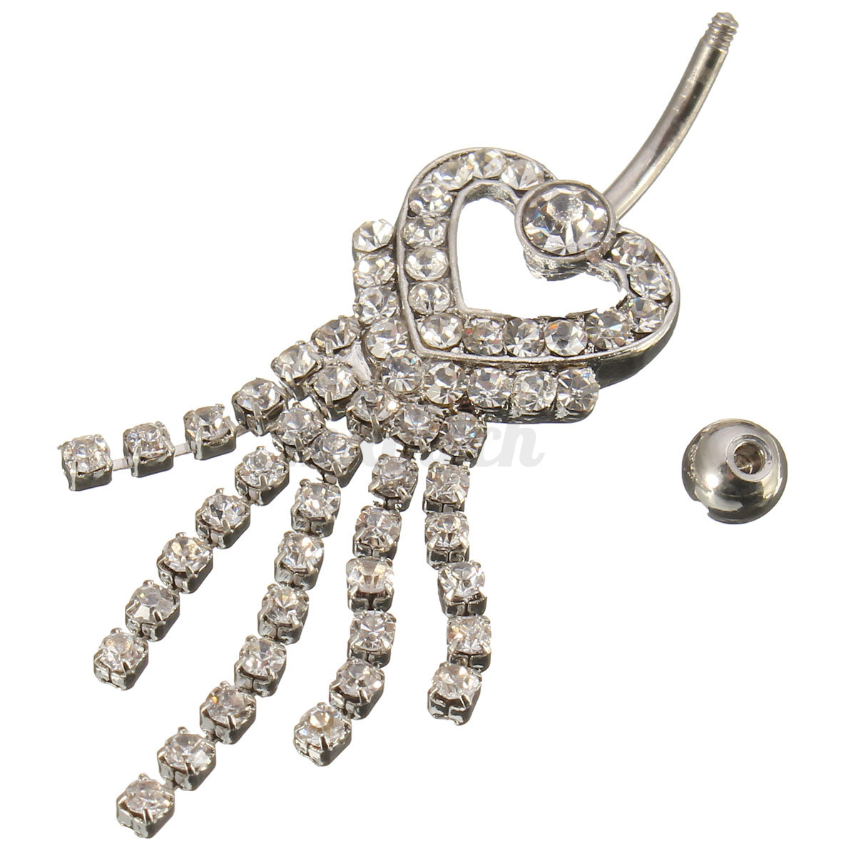 crystal tassel navel dangle button belly ring chain waist