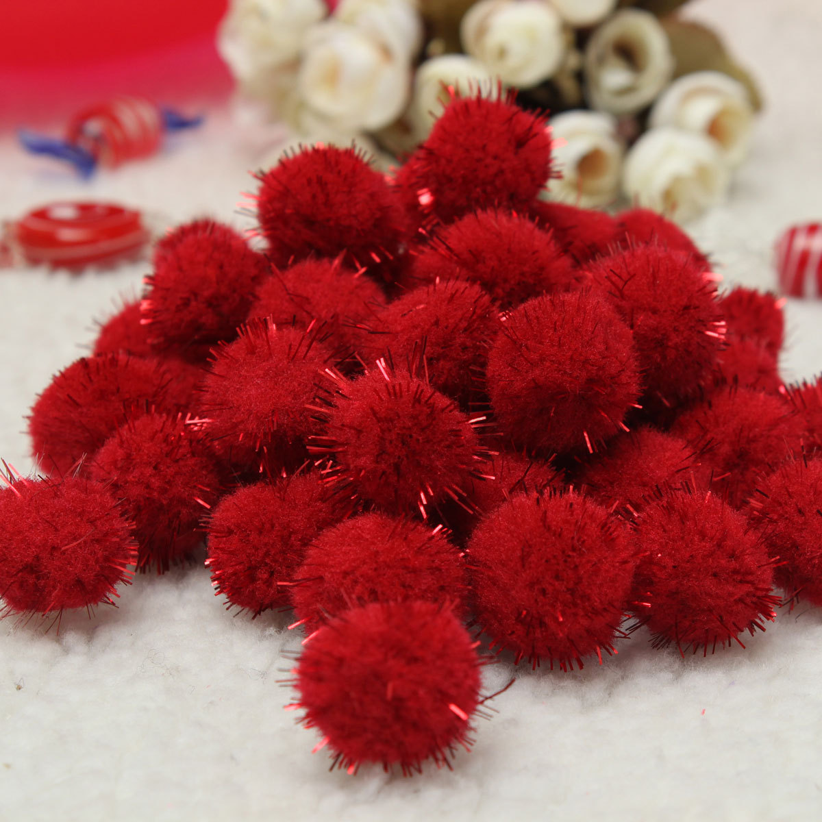 50x sparkly glitter tinsel pom poms balls 20mm for diy