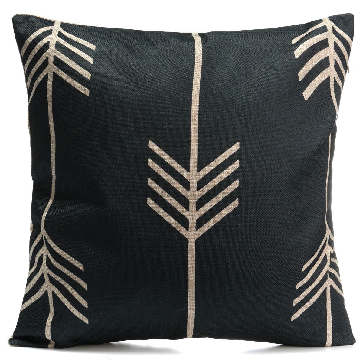 Vintage Black & White Cotton Linen Pillow Case Throw Cushion Cover Home Decor