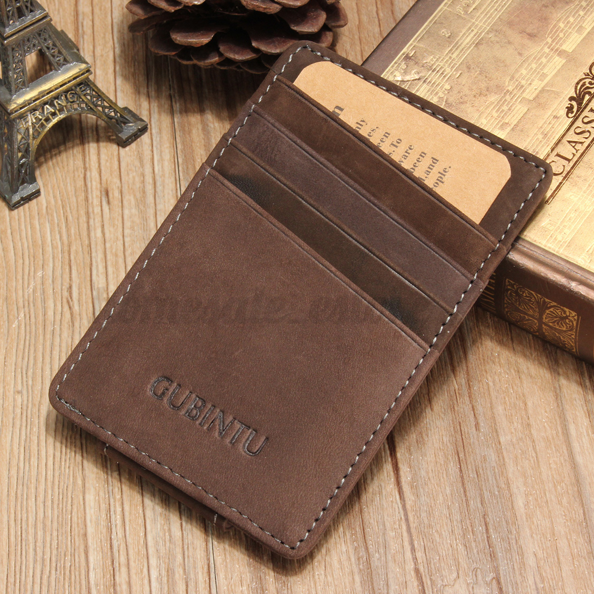 Men Genuine Leather Thin Wallet ID Money Credit Card Slim ...