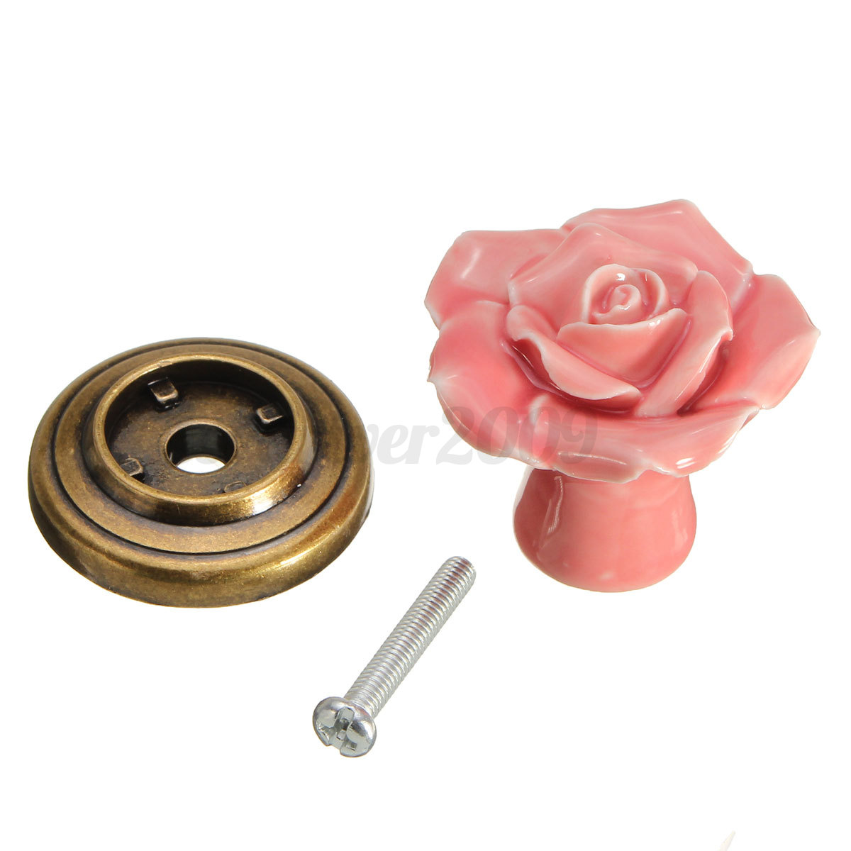 vintage ceramic rose flower cabinet drawer cupboard door knob pull handle ebay. Black Bedroom Furniture Sets. Home Design Ideas