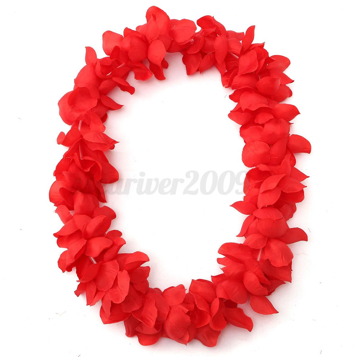 Hawaiian Artificial Flower Leis Garland Necklace Fancy Dress Beach Party Danc