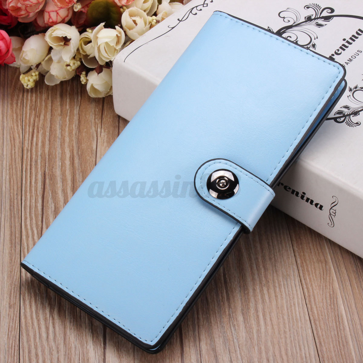 Fashion Women Leather Wallet Long Button Card Holder Clutch Lady Purse Handbag