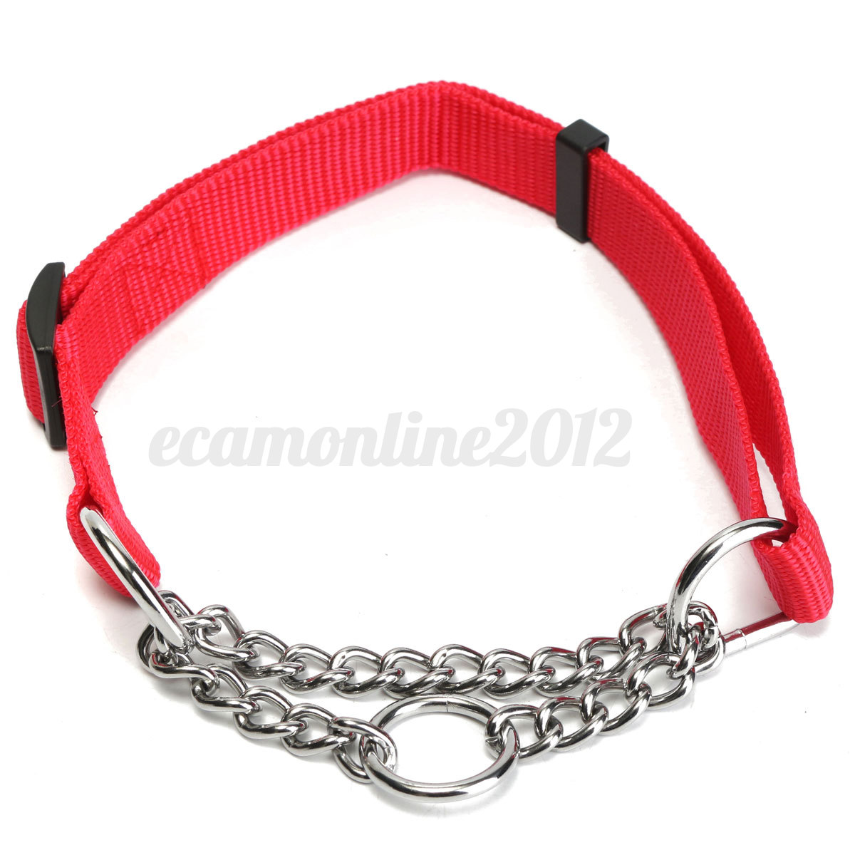 Nylon Adjustable Pet Dog Puppy Half Semi Chain Choker Collar Training Trainer