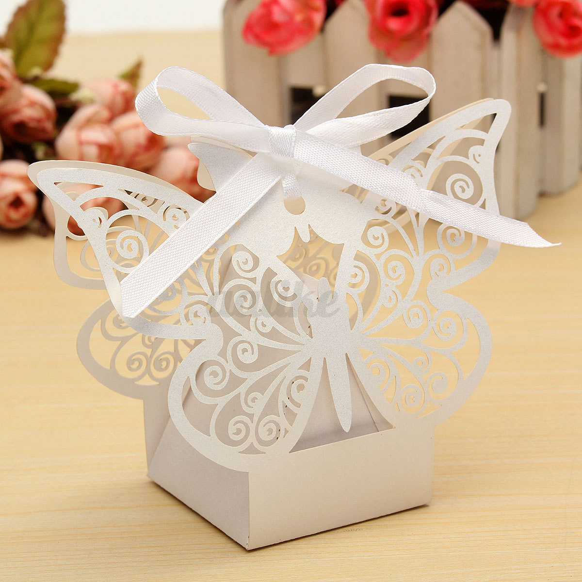 10 50pcs Paper Butterfly Wedding Cake Candy BOX Party