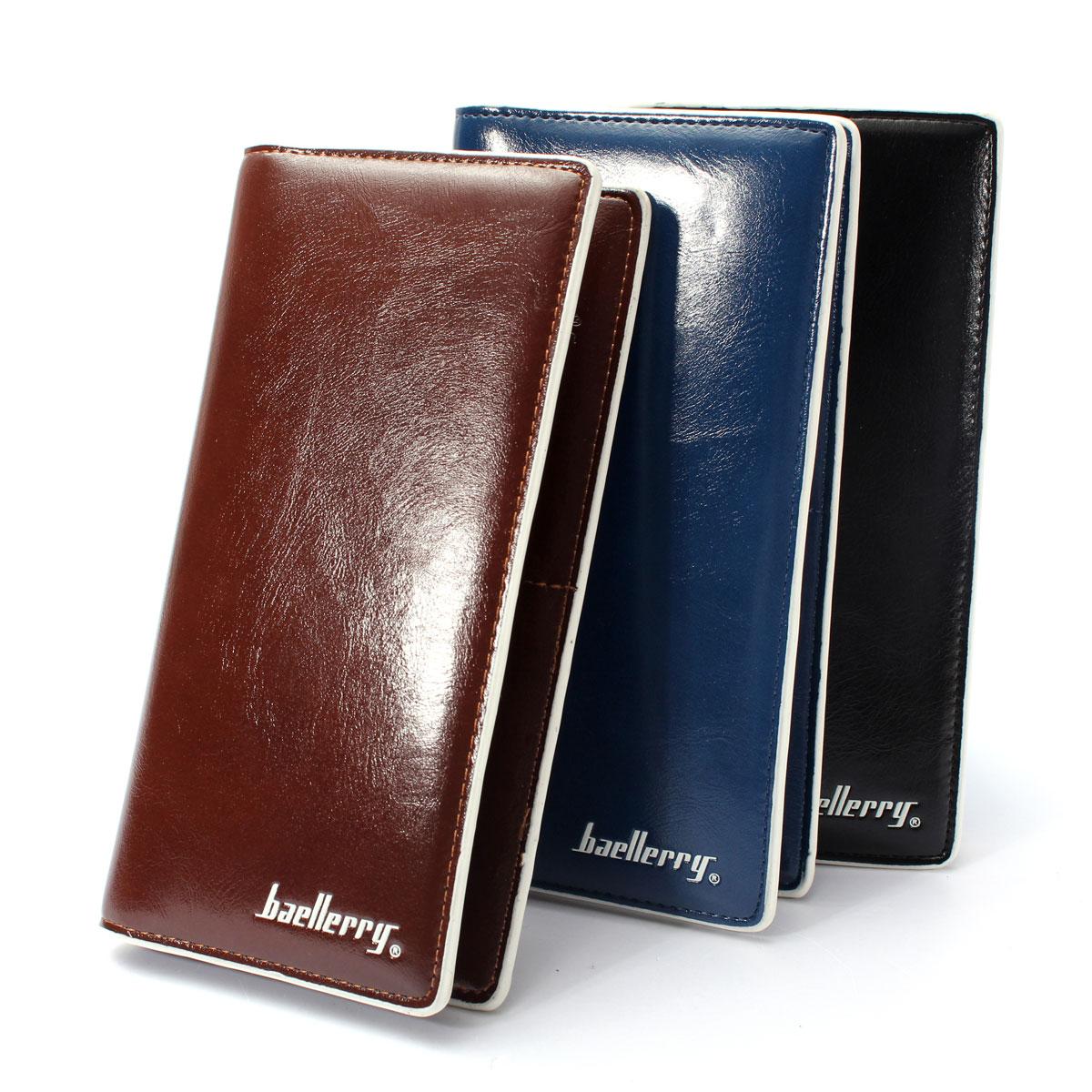 Hot Men Pu Leather Long Wallet Bifold Credit Card Holder Purse Pocket Money Clip Ebay