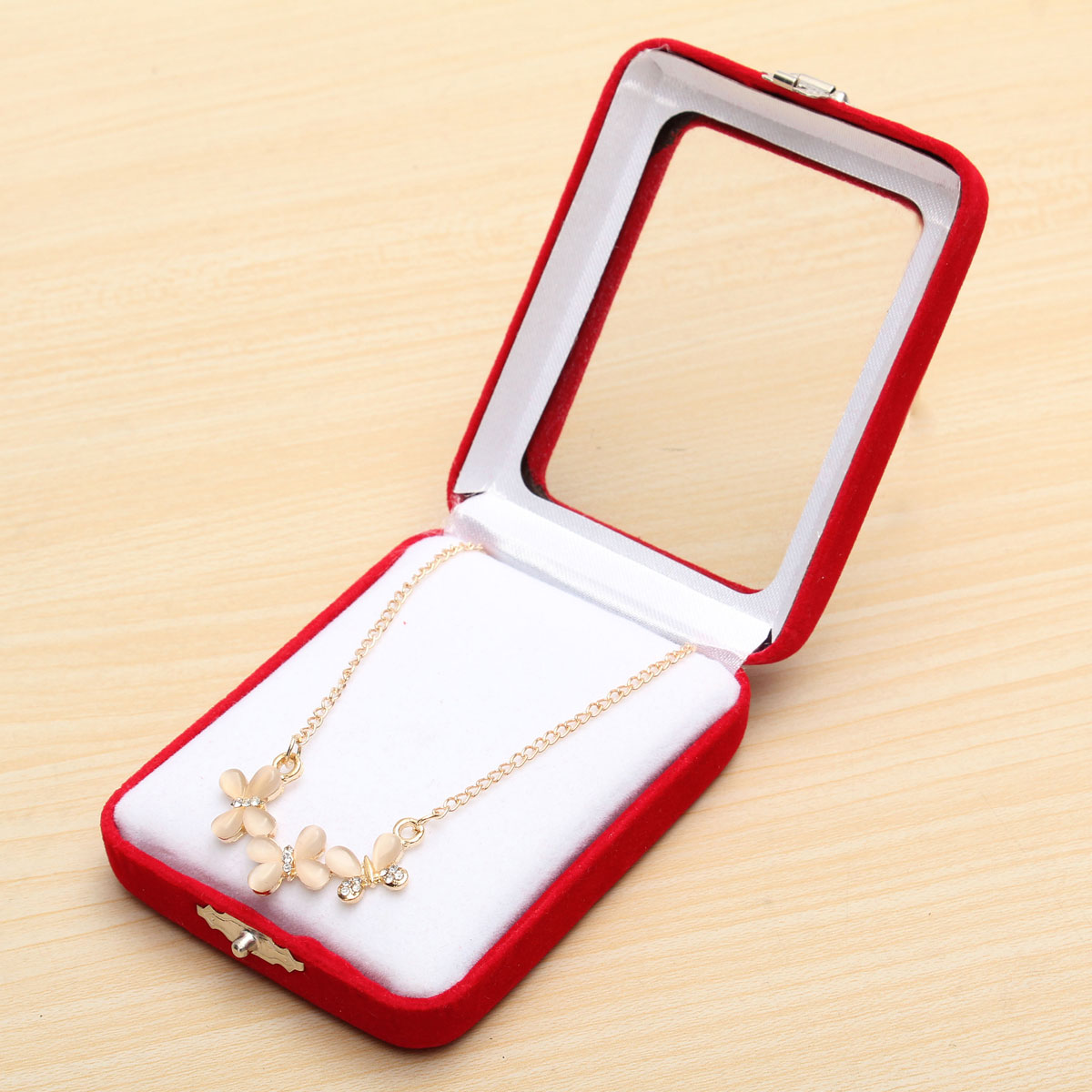 Red velvet gift jewelry box ring necklace earring bracelet for Red velvet jewelry gift boxes