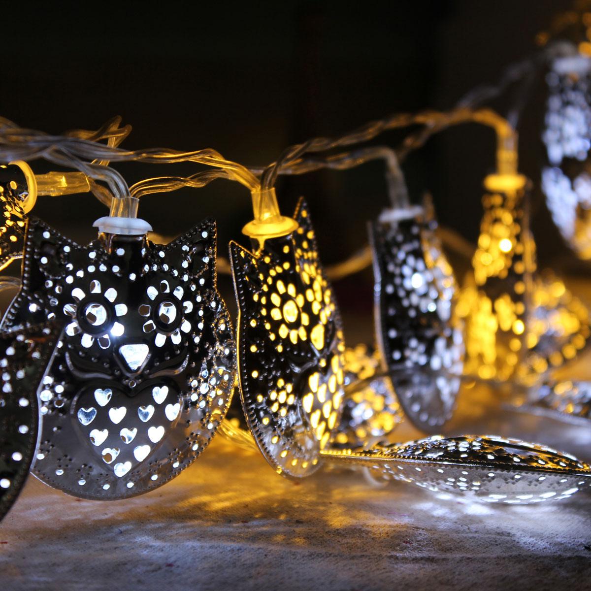 10LED Owl String Fairy Mirror Light Outdoor Garden Home Wedding BBQ Party Lamp eBay