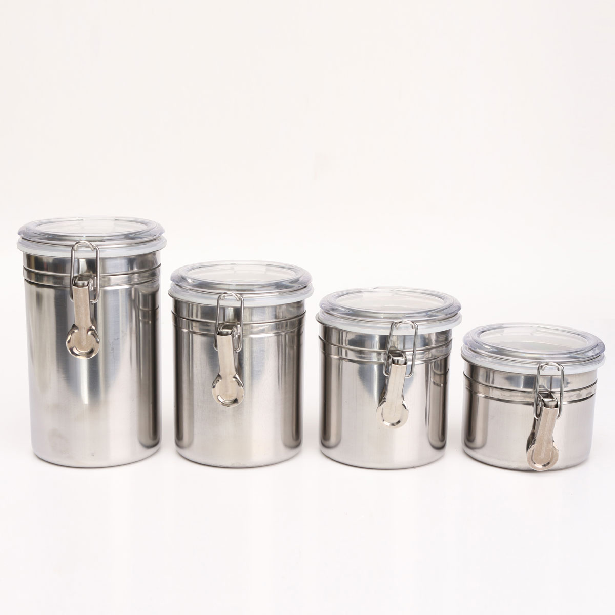 Airtight Stainless Steel Cabinet ~ Pcs airtight stainless steel canisters storage
