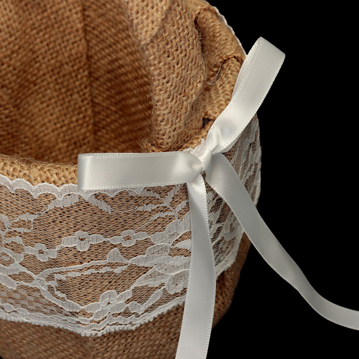 Flower Girl Baskets Burlap And Lace : Vintage rustic wedding ceremony hessian burlap and lace