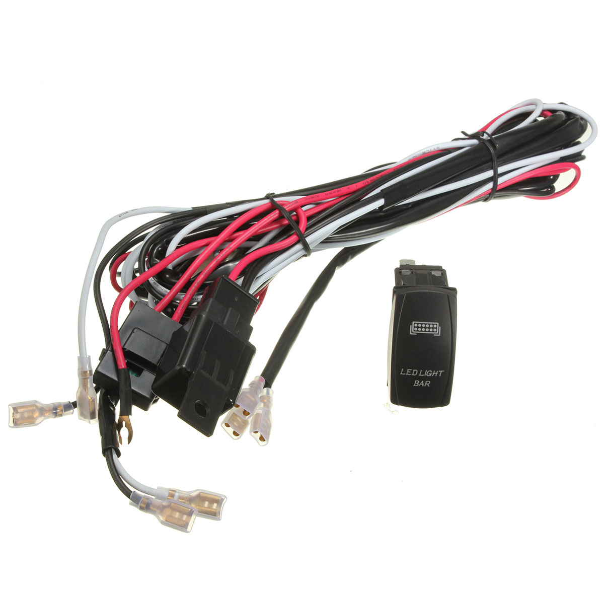 atv/jeep led light bar wiring harness 12v 40a relay on/off ... 12 volt atv wire harness