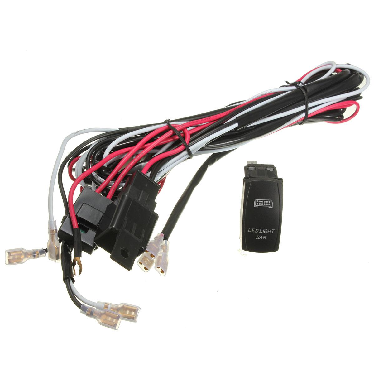 atv jeep led light bar wiring harness 12v 40a relay on off. Black Bedroom Furniture Sets. Home Design Ideas