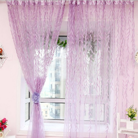 Rideau fen tre fil porte voilage moustiquaire saule plante for Decoration fenetre voilage