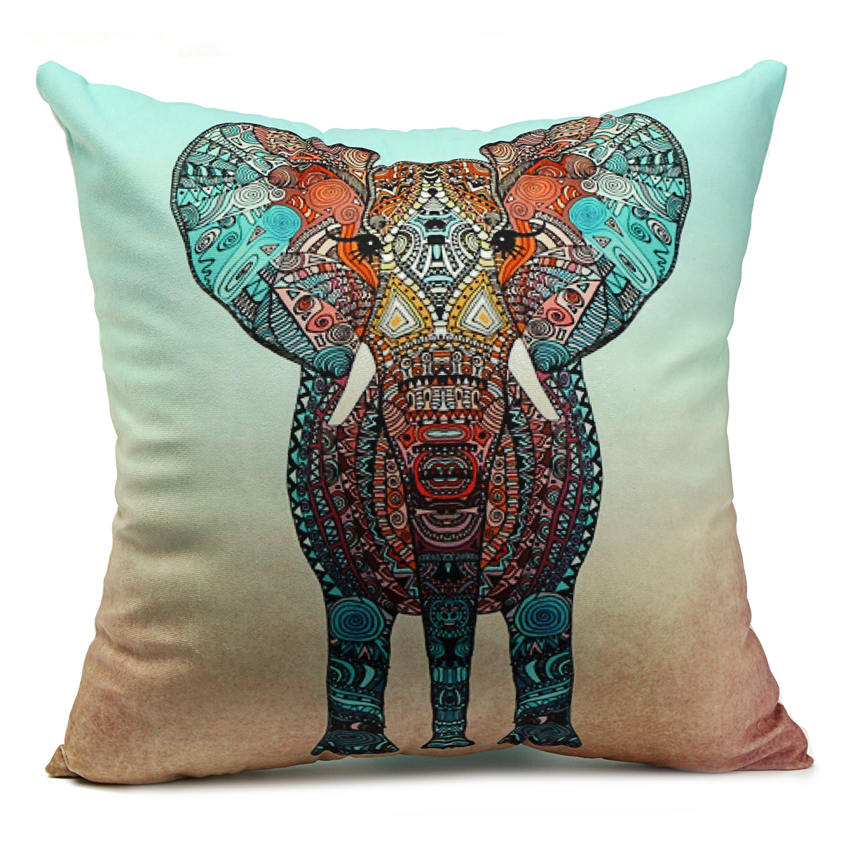 Velvet Colorful Elephant Throw Pillow Case Cushion Cover Car Home Sofa Decor Ebay
