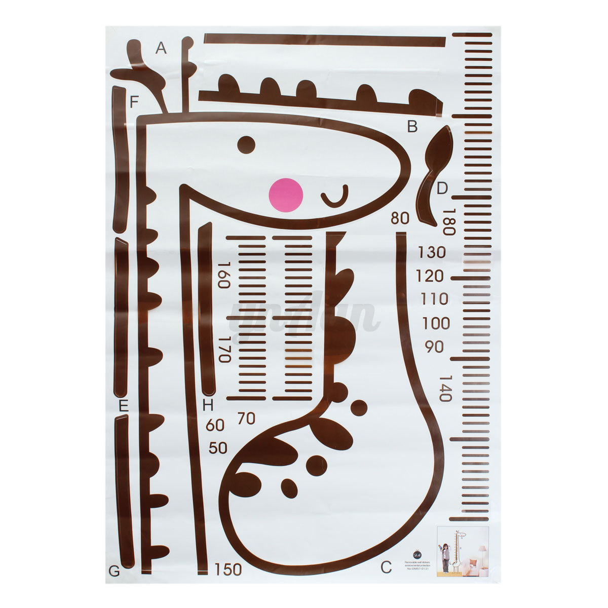 Wall Art Hanging Height : Removable giraffe wall sticker kids growth chart height