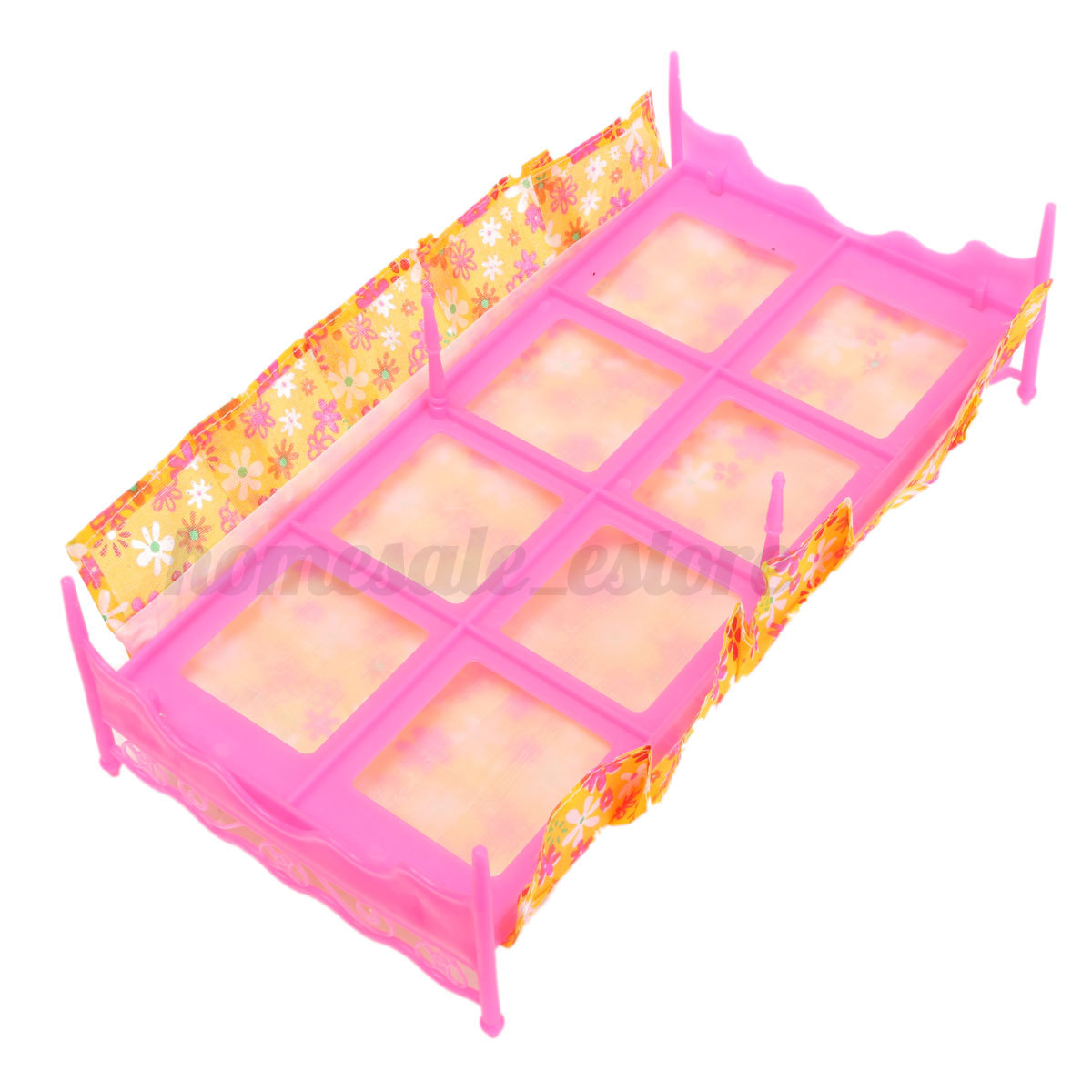 Plastic miniatures bedroom furniture single bed for barbie dolls dollhouse gift ebay Plastic bedroom furniture