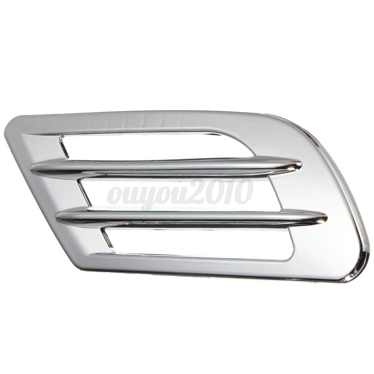 2pcs Chrome Car Auto Hood Side Bonnet Fender Exterior Air Flow Vent Intake Scoop Ebay