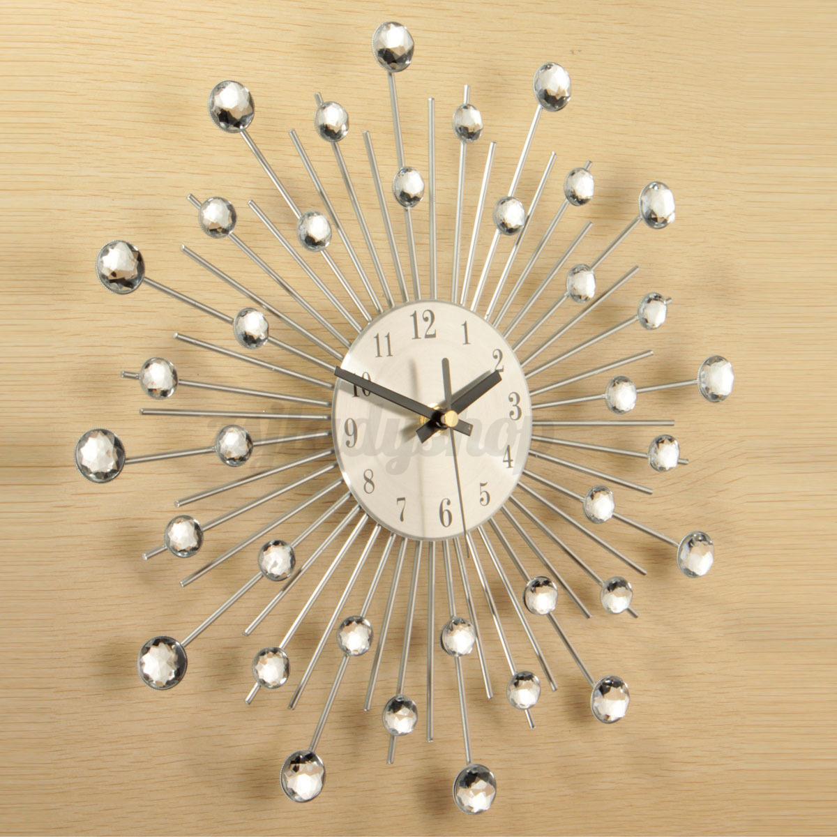 Diy sunburst wall decor : Modern art large wall clock metal sunburst home decor diy