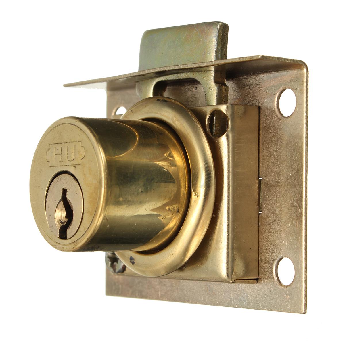 New Brass Drawer Lock Kit +2 Keys Cabinet Cupboard Door ...