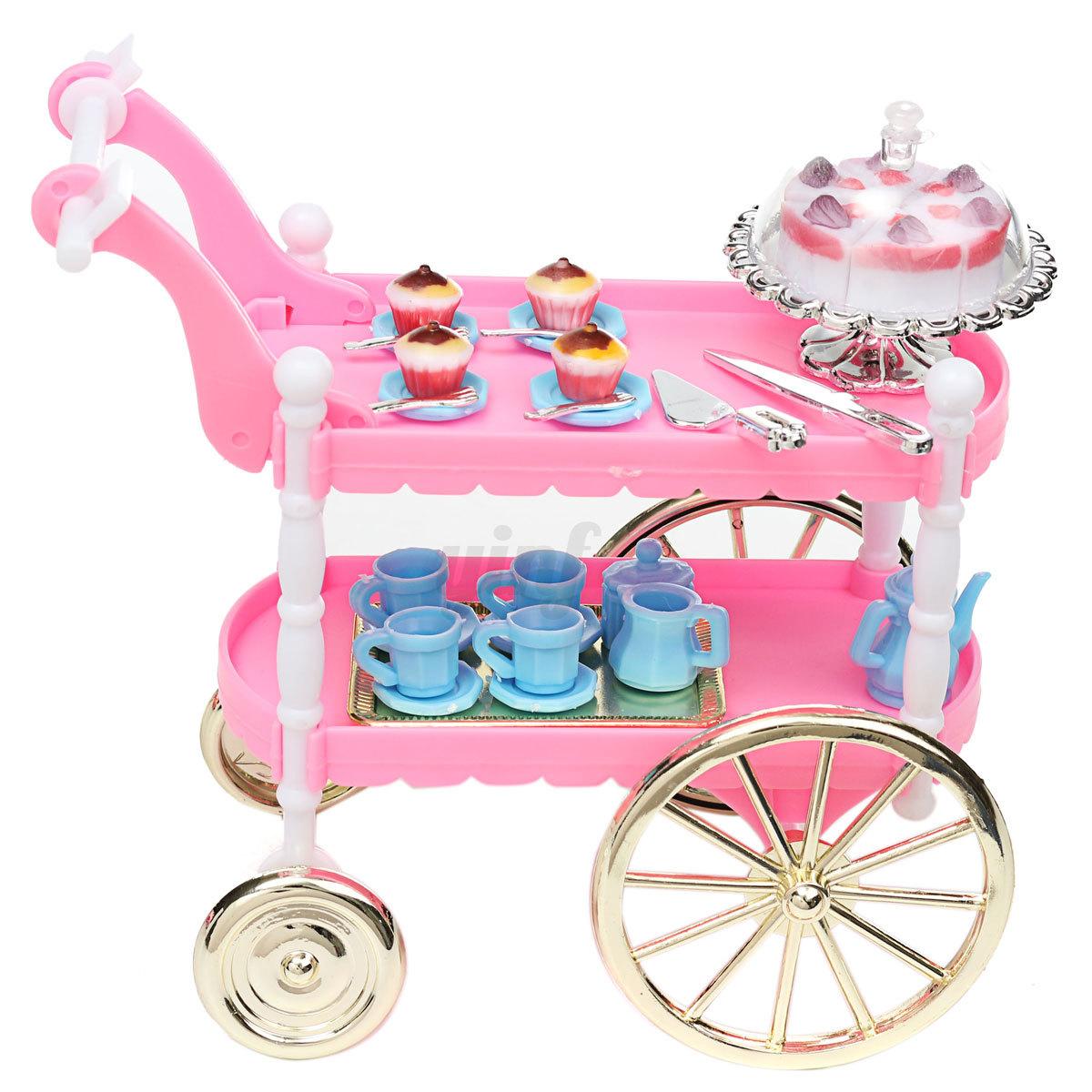 Barbie doll house furniture - Furniture Birthday Cake Tea Car Trolley Canteen For