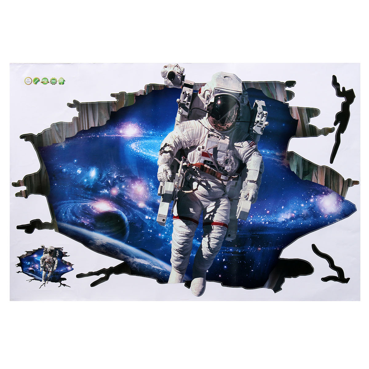 3d astronaut outer space galexy cracked art wall sticker for 3d outer space