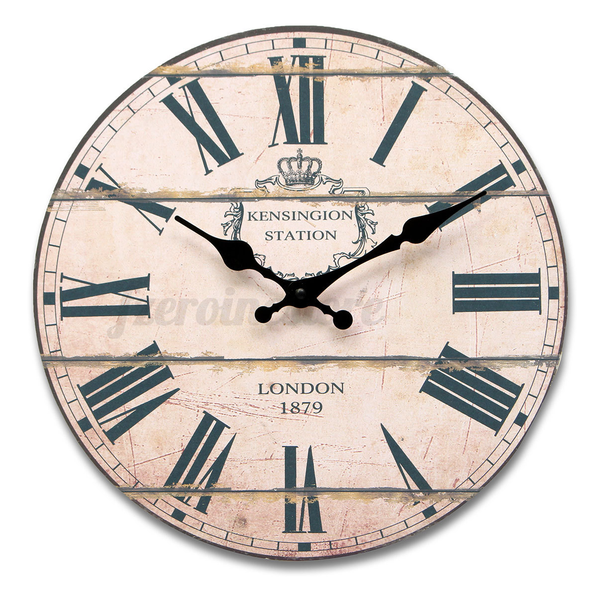 Large Wood Vintage Wall Clock Shabby Rural Antique Style ...