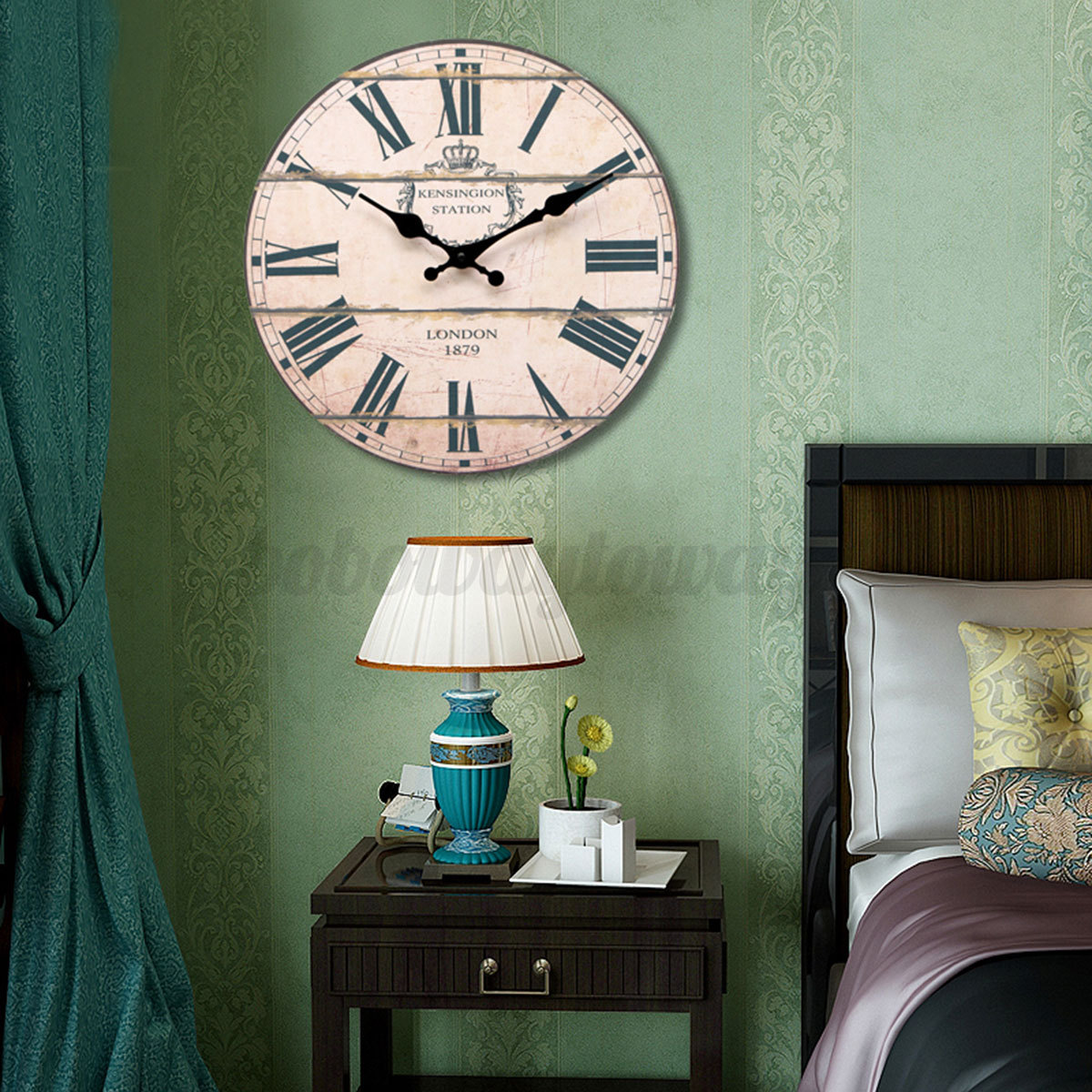 antique horloge murale bois grande shabby chic rustic maison cuisine wall clock ebay. Black Bedroom Furniture Sets. Home Design Ideas