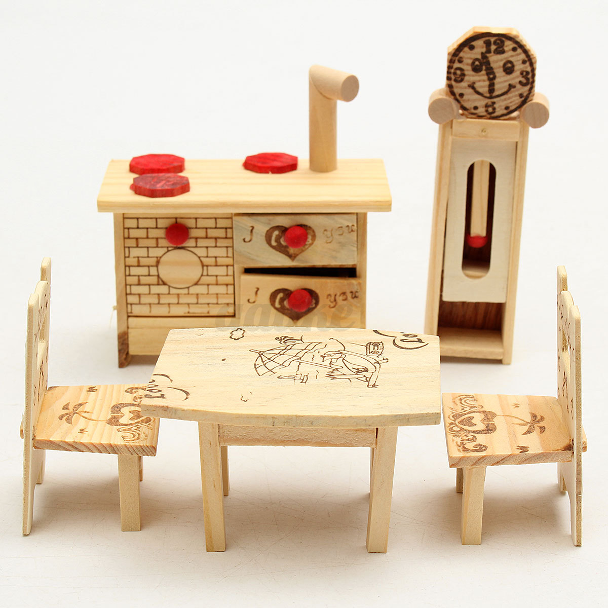 Miniature furniture carved kitchen dining room wooden dollhouse toy set new ebay - Dollhouse dining room furniture ...