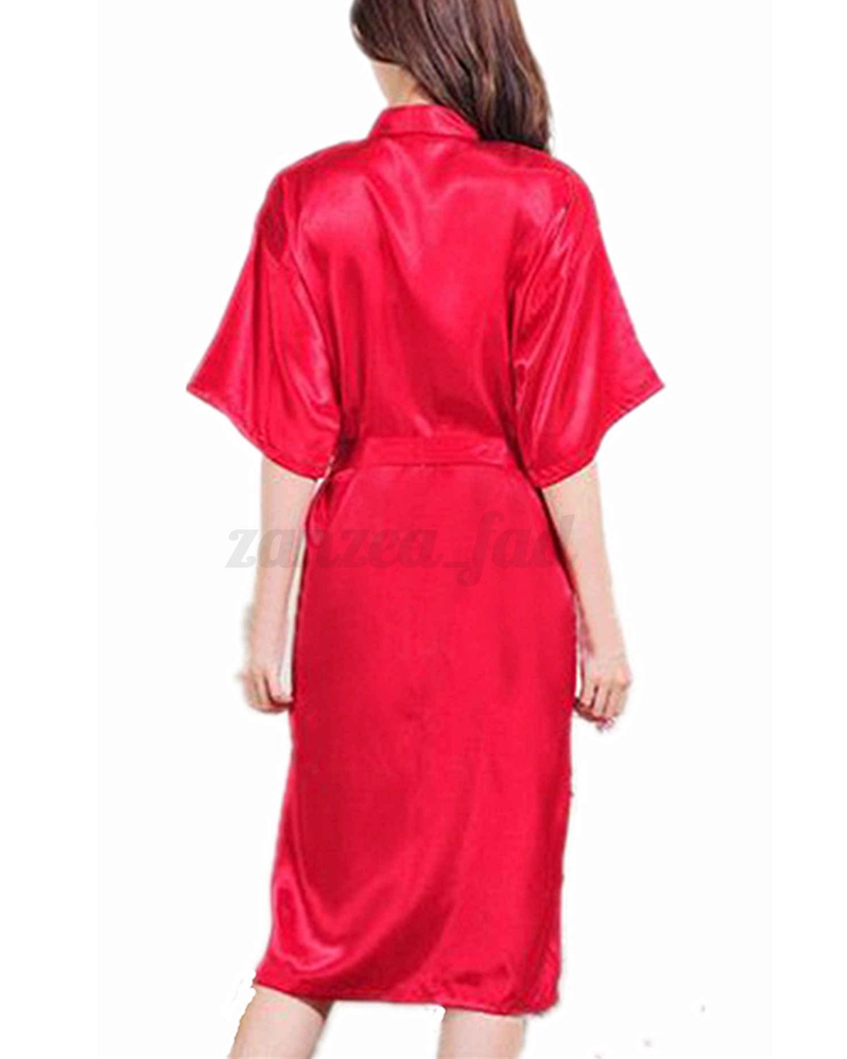 sexy damen satin lang pyjama lingerie nachtw sche bademantel kimono kleid s xxxl ebay. Black Bedroom Furniture Sets. Home Design Ideas