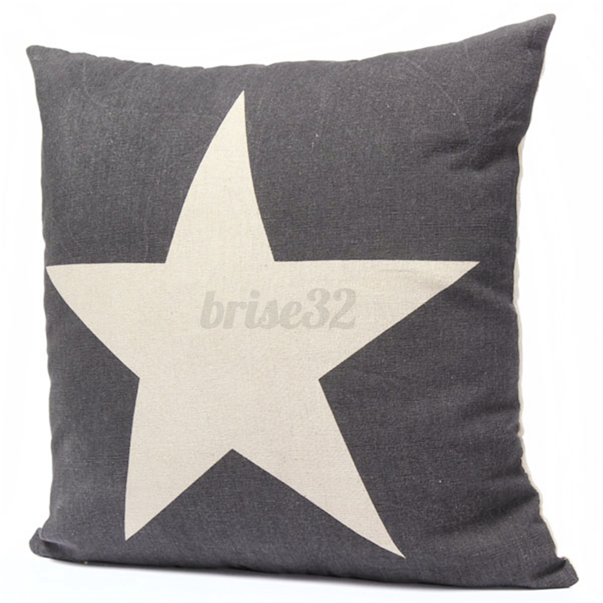The Linen Store And Home Decor Cotten Linen Star Throw Pillow Case Cushion Cover Square