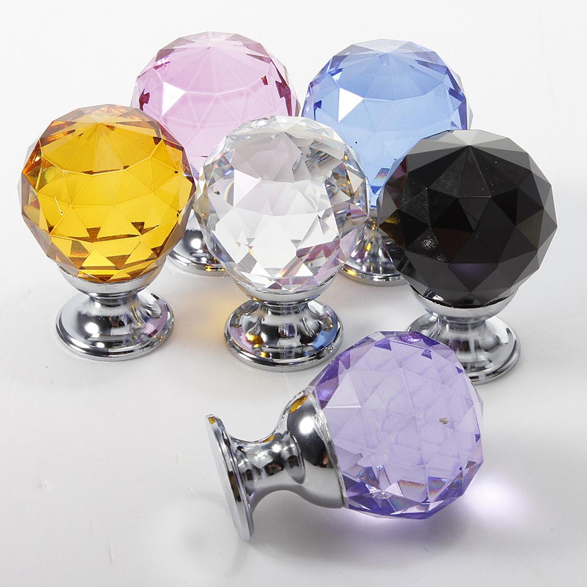 1/10x Möbelknöpfe Möbelgriffe Kristall Glas Möbelknauf Schrank Griff Knopf 30mm