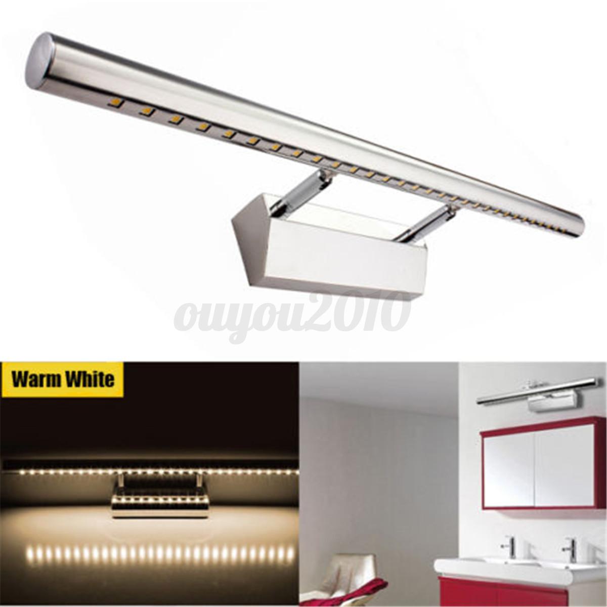 Lampe miroir acier 7w 5050 30 led 500lm lumier applique for Lampe miroir salle de bain led