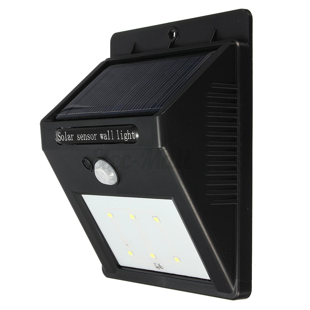Etanche 6led pir lampe solaire murale lumi re d tecteur mouvement ext rieur cour ebay - Lumiere solaire exterieur ...