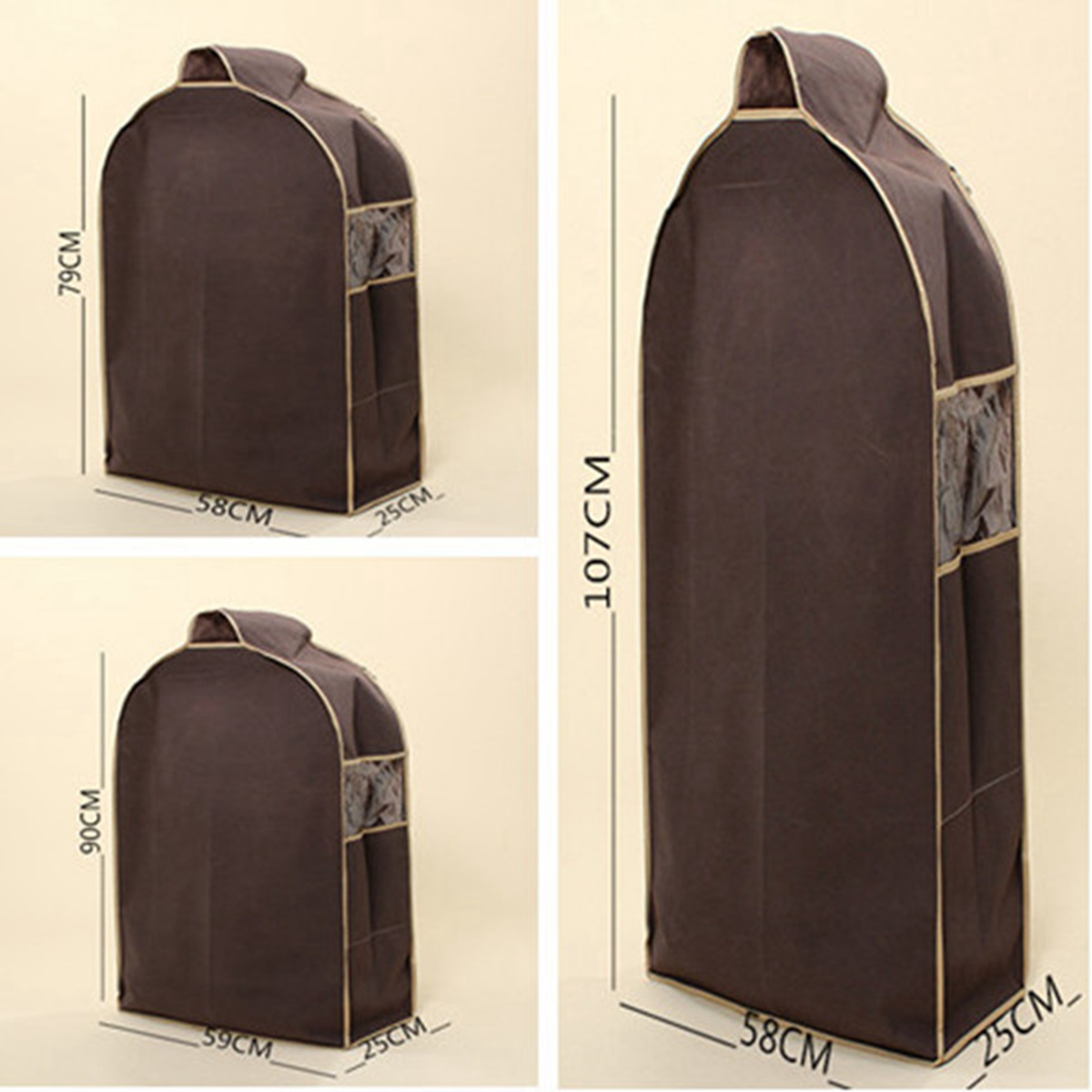 wardrobe hanging suit clothing overcoat dust cover garment storage bag organizer. Black Bedroom Furniture Sets. Home Design Ideas