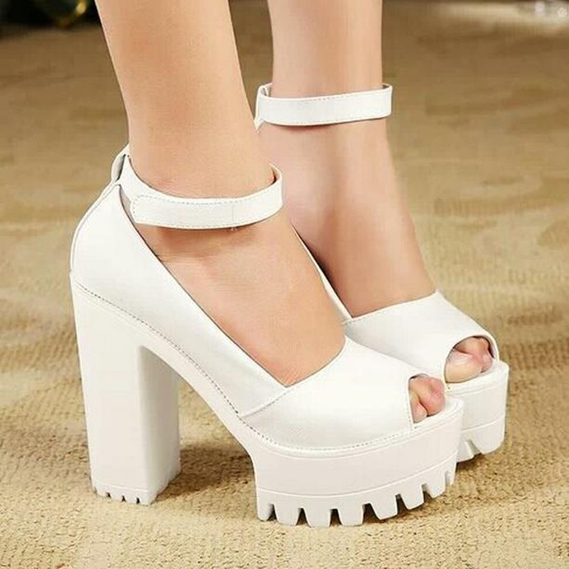 Women Platform Pumps Goth Strappy Open Toe Velcro Chunky High Heel Shoes Sandals