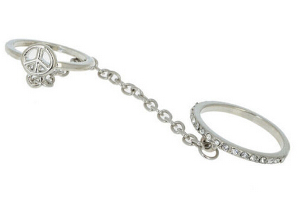 Women Crystal Jewelry Thin Link Chain Silver Gold  Chain Crystal Double Rings