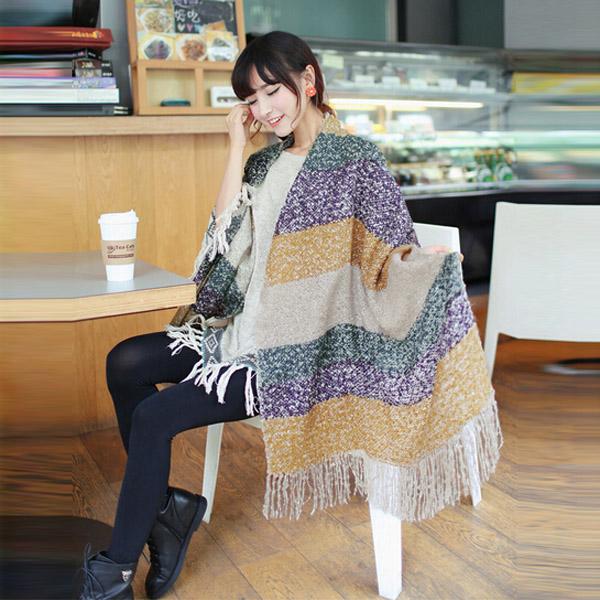 Women Long Wool Blend Winter Tassel Scarf Warm Headband Shawl Pashmina Stol