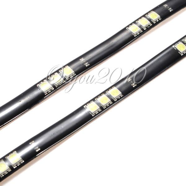 2x 30cm led 15 smd wasserdicht lichterkette streifen wei strip leiste autolampe ebay. Black Bedroom Furniture Sets. Home Design Ideas