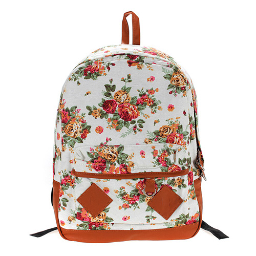 Vintage Flower Floral Bag Schoolbag Bookbag Backpack For