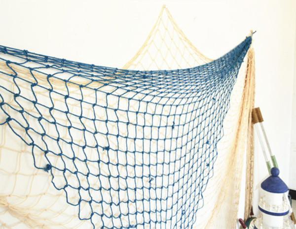filet de p che d coratif 100 x 200cm d coration marine m diterran en bleu blanc ebay. Black Bedroom Furniture Sets. Home Design Ideas