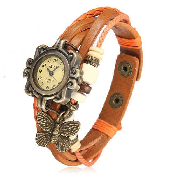 Fashion Woven Vintage Butterfly Leather Bracelet Decoration Quartz Wrist Watch