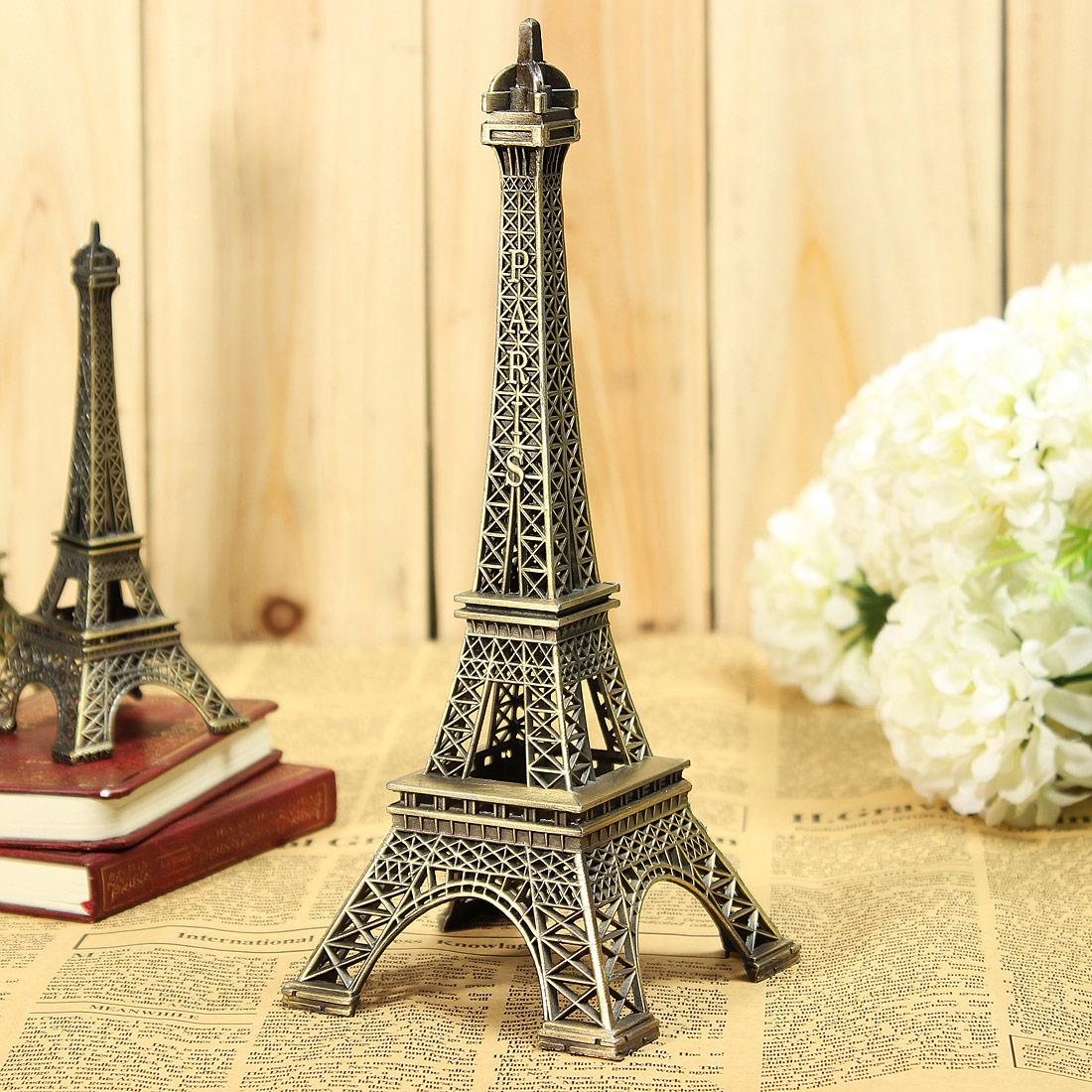 Vintage Bronze Tone Paris Eiffel Tower Sculpture Retro